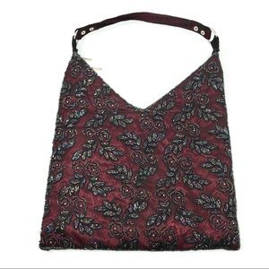 Handbags - Burgundy Hand Beaded Shoulder Bag Purse